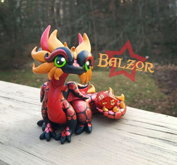 Polymer Clay Dice Dragon Figurine- Black, Red, and Gold Dragonling Sculpture: Balzor