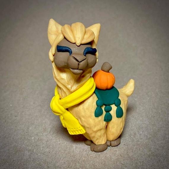 Halloween Llama | Llama Sculpture | Fall Llama Figurine | Gold Llama with Scarf and Pumpkin