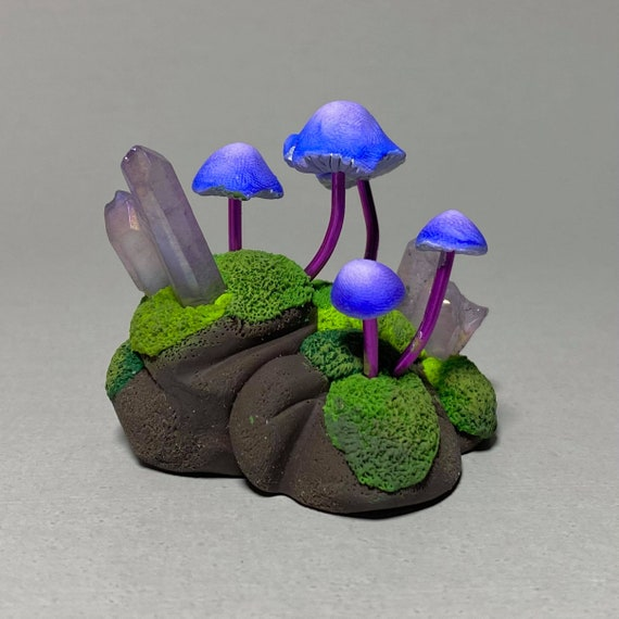 Mushroom Sculpture | Fairy Garden | Moss Covered Stone | Moss and Crystals | Mushroom Island | Fantasy Garden | Tiny Woodland World