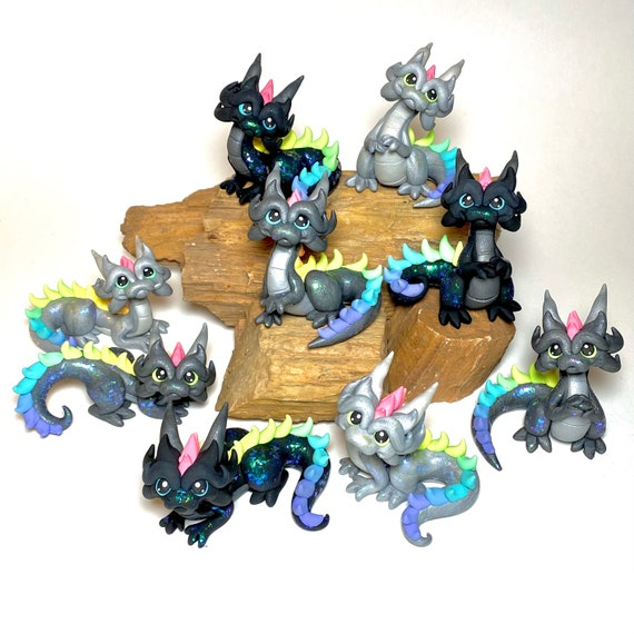 Rainbow Dragon | Pride Rainbow Dragonling | Pastel Rainbow Dragon Sculpture | Clay Dragon