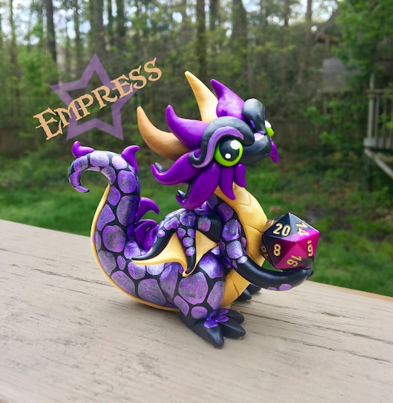 NEW! Polymer Clay Dice Holder Dragon- Black, Light Gold, and Purple Dragonling: Empress