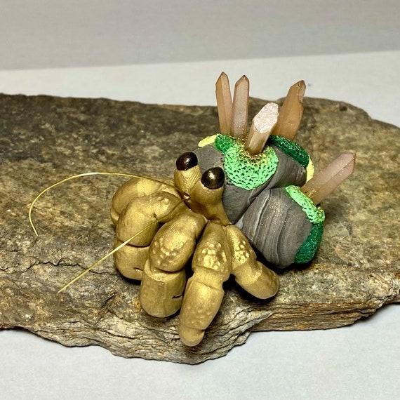 Crystal Hermit Crab Sculpture | Polymer Clay Hermit Crab | Crab Figurine | Crystal Crab