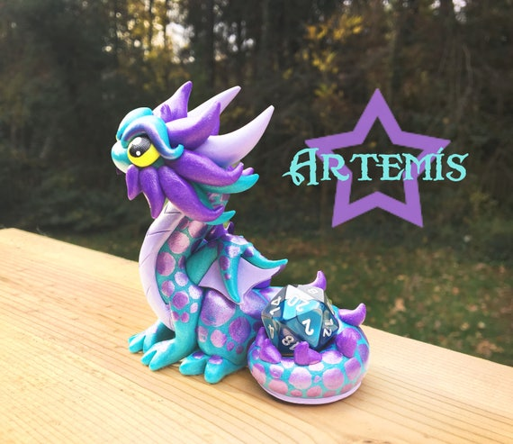 Polymer Clay Dragon Dice Holder- Teal Pearl, Light Periwinkle, and Metallic Purple Dragonling: Artemis