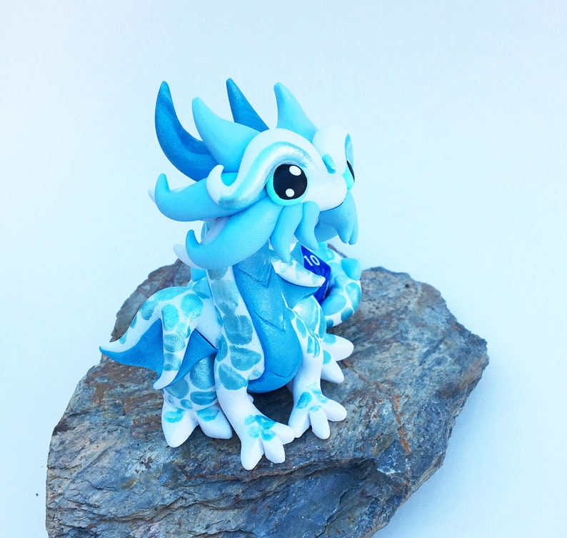 Sparkle White Haven Polymer Dice Holder Dragon and Light Blue Dragonling Light Blue Pearl