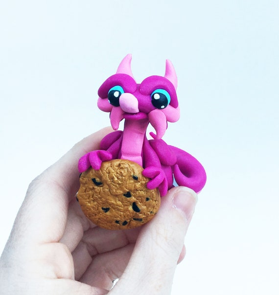 Polymer Clay Mini Dragon Sculpture- Fuchsia and Pink Chocolate Chip Cookie Thief Figurine