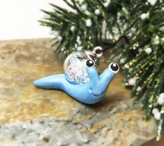 Snail Christmas Ornament | Snail with Christmas Glitter Ball Ornament | Mini Snail Ornament | Blue, Red, Green Snail Ornament