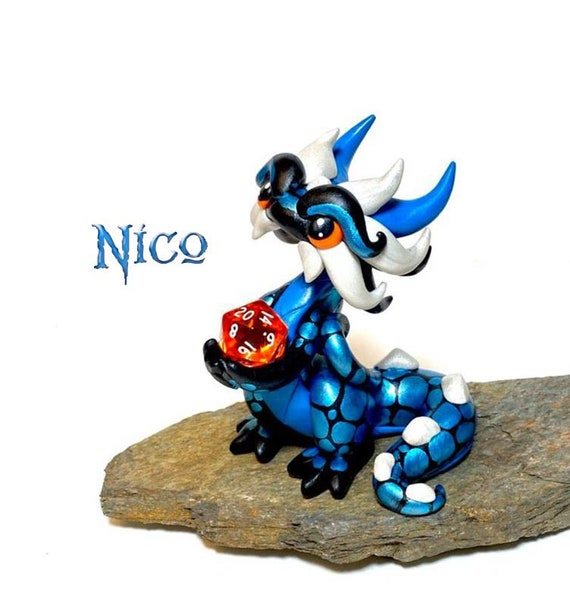 Polymer Clay Dice Dragon Figurine- Black, Teal, and Pearl White Dragonling Sculpture: Nico