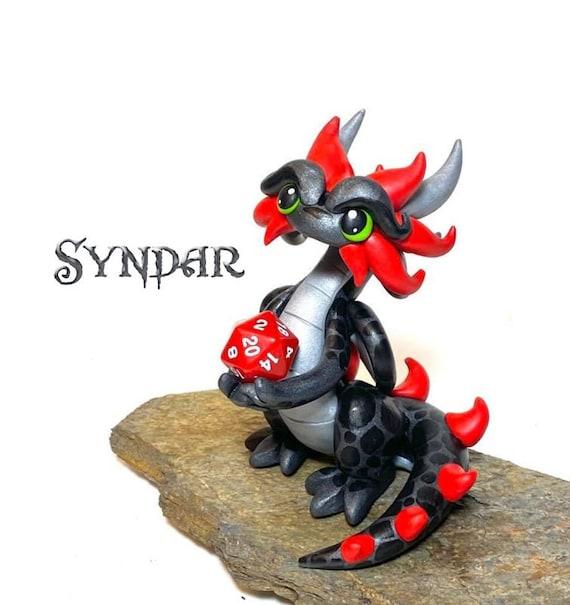 Polymer Dragon Dice Holder- Gunmetal Gray, Silver, and Red Dragonling: Syndar