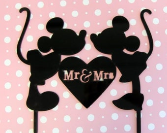 Kissing Mickey and Minnie Disney Inspired Cake Topper  - Wedding Decor, Mr and Mrs, Hidden Mickey, Disney theme, Disney Couple