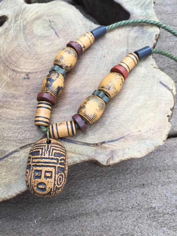 mens necklace accessories jewelry ancient antique ceramic N11 Handmade women necklace adjustable necklace hand made necklace