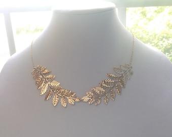 Leaf Necklace, Leaf Statement Necklace, Gold  Statement Necklace, Choker Necklace, Gold Bib Necklace, Bridal, Wedding, Bridesmaid Set Of