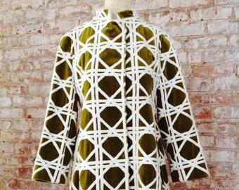 Bill Blass 1960's BOND STREET nehru panne velvet olive graphic three dimensional cube design Op-Art MOD coat w/chain belt drape x-Rare!