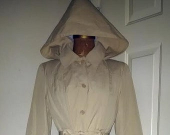 2c8f5a8b237 Yves Saint Laurent Paris 1970's khaki trench coat w/ hood matching belt  Made in France