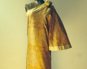 Pierre Cardin Creation 1970 39 s silk and linen one shoulder hostess gown dramatic angel sleeve with bow Made in France