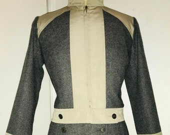 e2dda5584f1 SAINT LAURENT Rive Gauche 1966 safari khaki charcoal pleat skirt wool suit  x-rare YSL ready to wear swinging 60's France museum collector