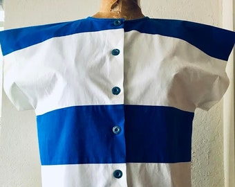 7363c0be GUCCI 1980's bold stripe blue and white cotton chemise with Gucci logo blue  buttons Made in Italy
