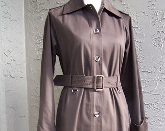 1a1b37a4677 Yves Saint Laurent rive Gauche 1960's khaki trench coat Safari chic form  fitting with attached belt. excellent condition rare