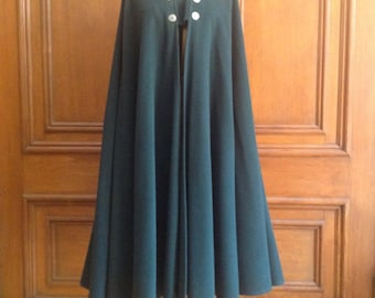 8e5eb3db764 YSL Saint Laurent 1970's wool forest green swing cape coat Russian  collection Military inspired. So Rive Gauche! Rare Boho chic!