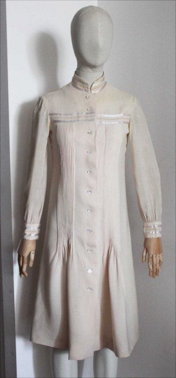 Giorgio Di Sant Angelo 1970's creme cotton pleated