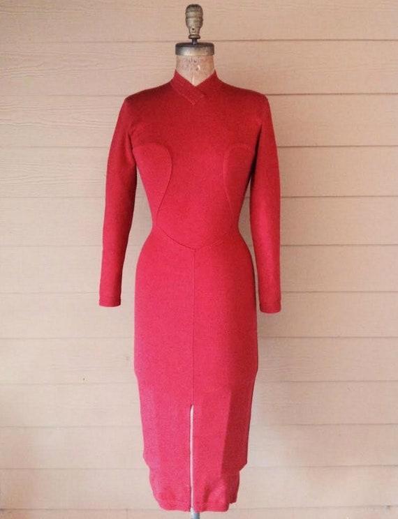 AZZEDINE ALAIA 1980's stretch zipper red body con