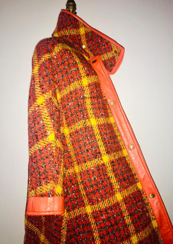 BONNIE CASHIN SILLS 1960s tweed leather swing coa… - image 3