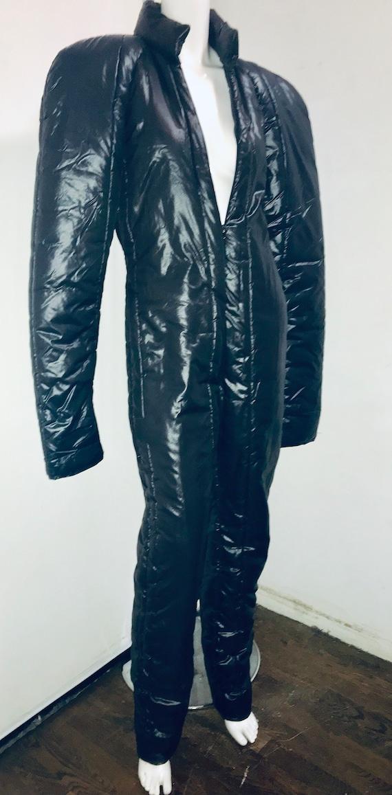 Norma KAMALI 1980s sleeping bag ski black jumpsuit