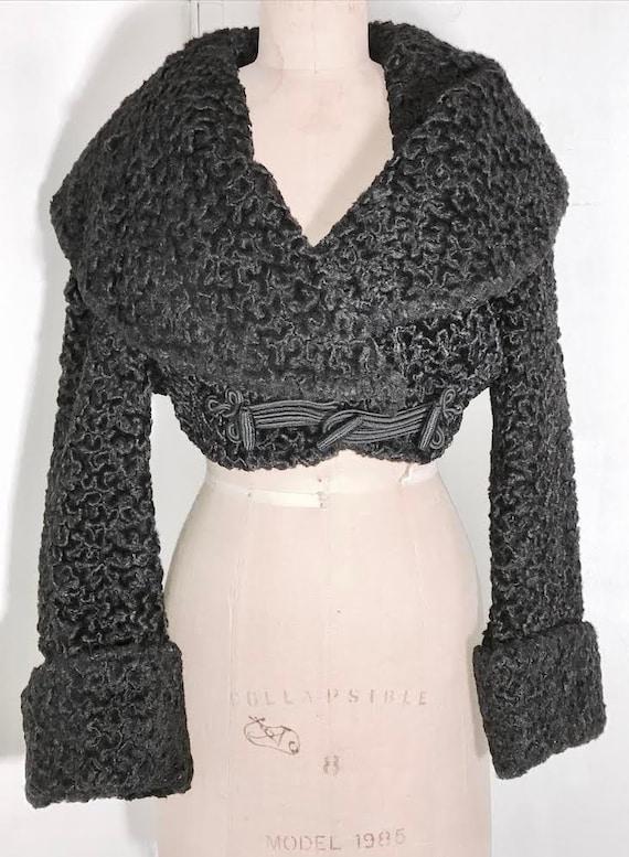 AZZEDINE ALAIA 1980's  cropped black fur coat Mad… - image 1