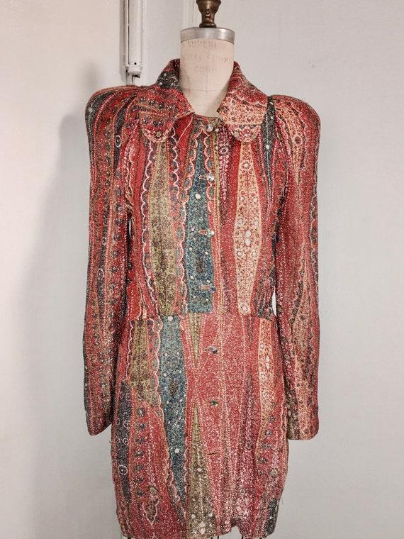 BILL GIBB 1960s multi color paisley metallic lame