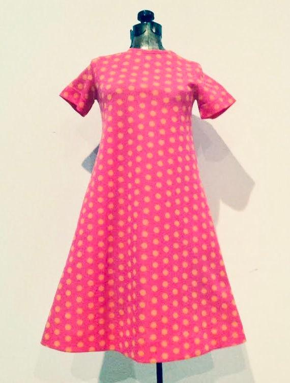 RUDI GERNREICH 1960S pink polka dot graphic MOD dr