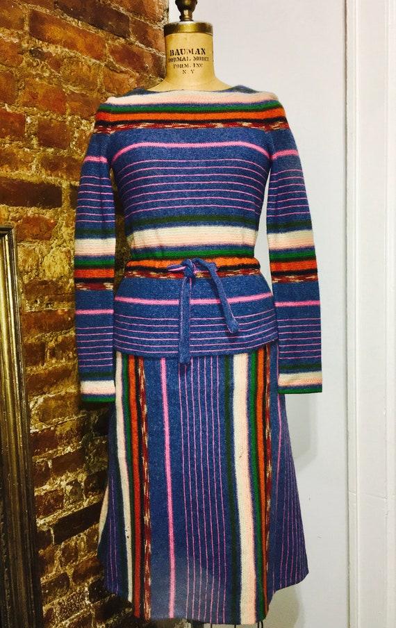 STEPHEN BURROWS 1970 multi color wool knit three p