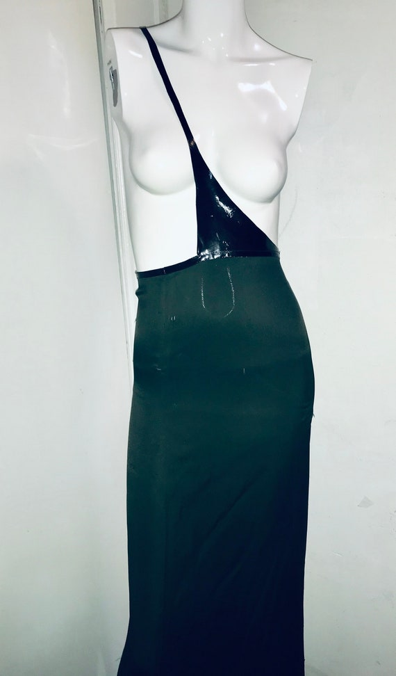 GUCCI TOM FORD 1990s forest green dress with leath