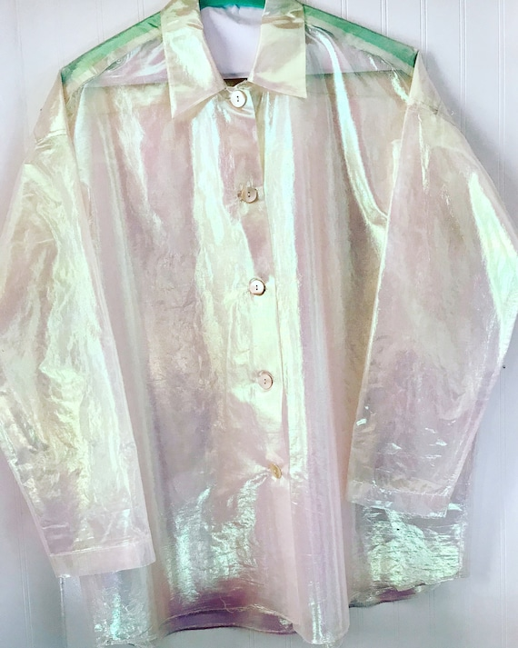 ROMEO GIGLI 1980s silk metallic sheer blouse size