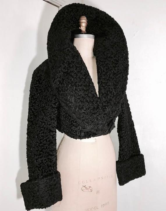 AZZEDINE ALAIA 1980's  cropped black fur coat Mad… - image 2