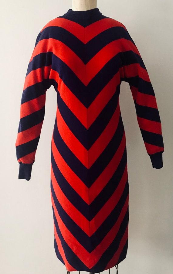CELINE 1980s striped wool sweater dress Made in It