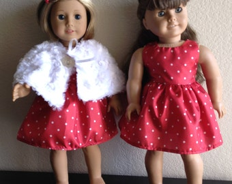 """Fur Cape and Dress to fit 18"""" Dolls such as American Girl"""