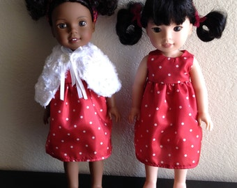 """Fur Cape and Dress made to fit 14 1/2"""" Dolls such as Wellie Wisher"""