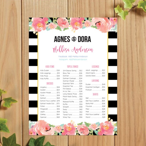 Printable Agnes And Dora Price List Poster Skirts Dresses Etsy