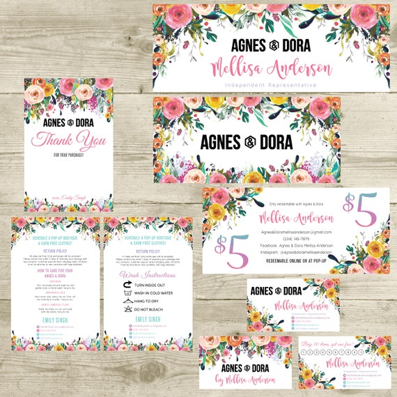Printable Agnes And Dora Marketing Kit Business Card Punch Etsy