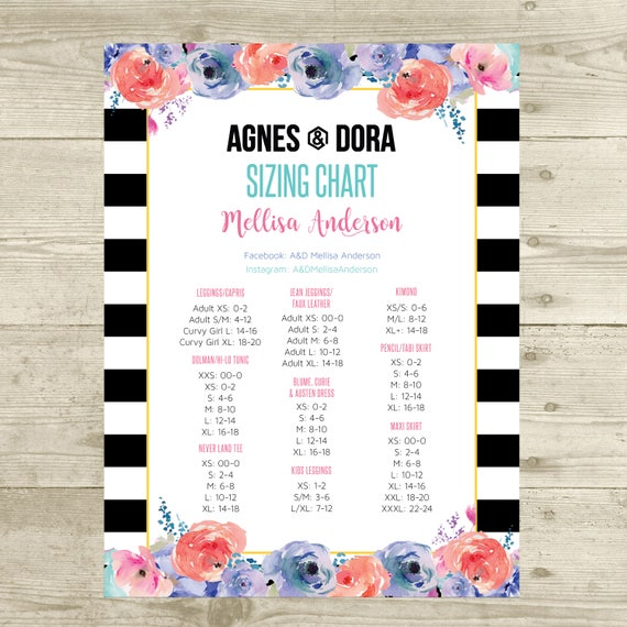 PRINTABLE Agnes and Dora Size Chart Sizing Chart Poster Size | Etsy
