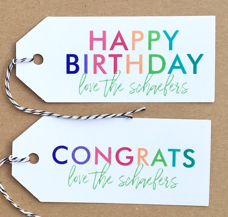 Colorful Happy Birthday Gift Tag Congrats Gift Tags Personalized Birthday Gift Tags Custom Celebration Gift Tags Gift Wrap Party Packaging