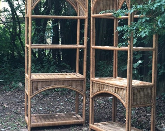 Sold Separately Pair Of Mid Century Vintage Rattan Bookshelf Bookcase Bamboo Arch Etagere Stand Boho