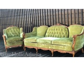 French Victorian 18th Century palor settee 2pc ornate