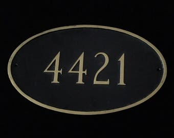 Numbers 4421 Carved Slate Round House mailbox Sign Stone Plaque/Condo Custome  Marker address black & gold.
