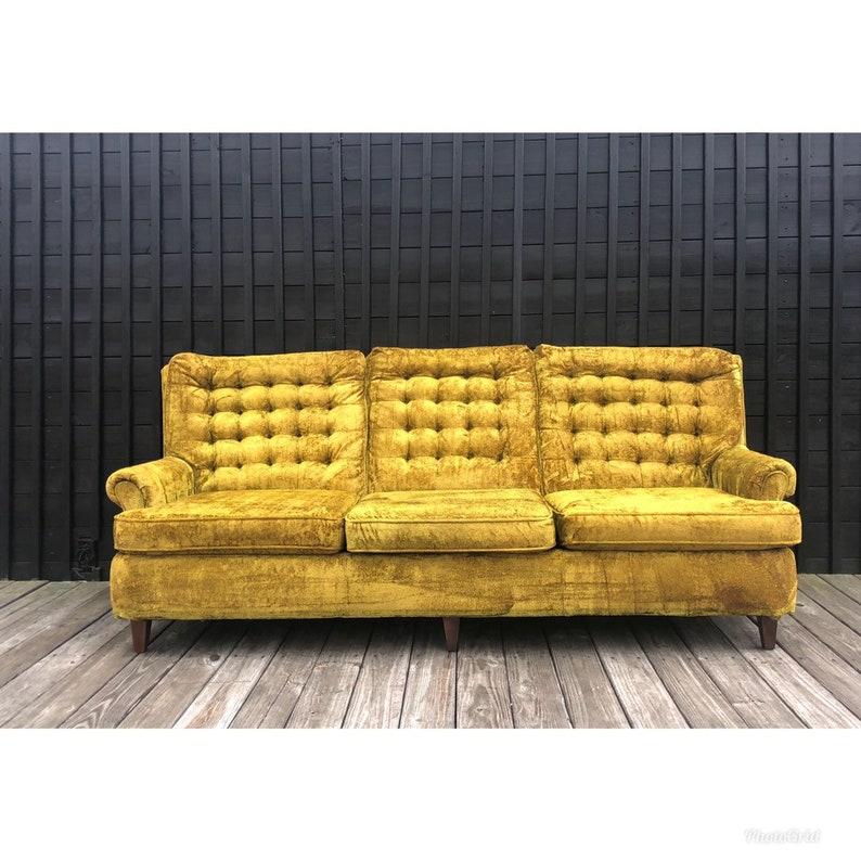 Mid Century Modern Yellow Greenish Mustard Yellow Tufted Sofa chesterfield  tufted highend