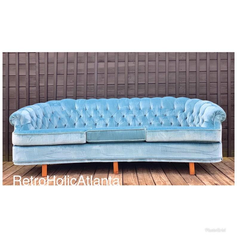 Fantastic Sky Blue Velvet Mid Century Modern Tufted Chesterfield Sofa Grey Blue Vintage Machost Co Dining Chair Design Ideas Machostcouk