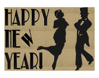 Happy New Year - Retro Roaring 20s Gatsby Chalkboard - EMBROIDERY DESIGN FILE- Instant download - Hus Exp Jef Vp3 Pes Dst formats 2 sizes