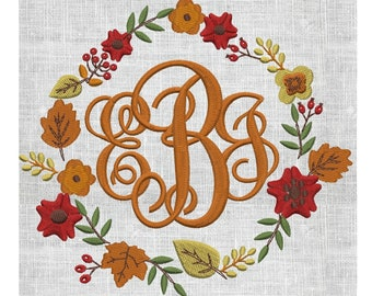 Autumn Fall Frame with Leaves berries and Flowers EMBROIDERY DESIGN FILE- Instant download - Hus Exp Jef Vp3 Pes Dst formats 2 sizes 6 color