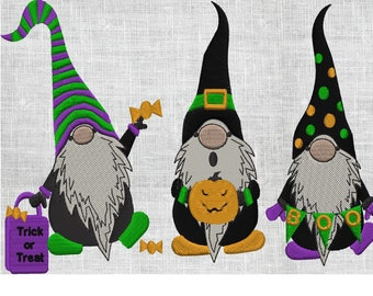 3 Halloween Gnomes w Candy Pumpkin and Boo Banner - EMBROIDERY DESIGN FILE- Instant download Hus Exp Jef Vp3 Pes Dst - 2 sizes - 6 colors