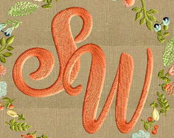 Holidance Monogram FONT Embroidery File - 26 Letters - 2 inch - EMBROIDERY DESIGN File Instant download Dst Hus Jef Pes Exp Vp3 format