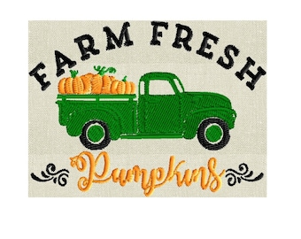 Farm Fresh Pumpkins - Pickup Truck SMALL - EMBROIDERY Design FILE- Instant download - Exp Jef Vp3 Pes Dst formats 4x4 hoops or larger only